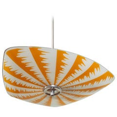 Mid-Century Op Art Sunflower Gold and White Glass Fixture