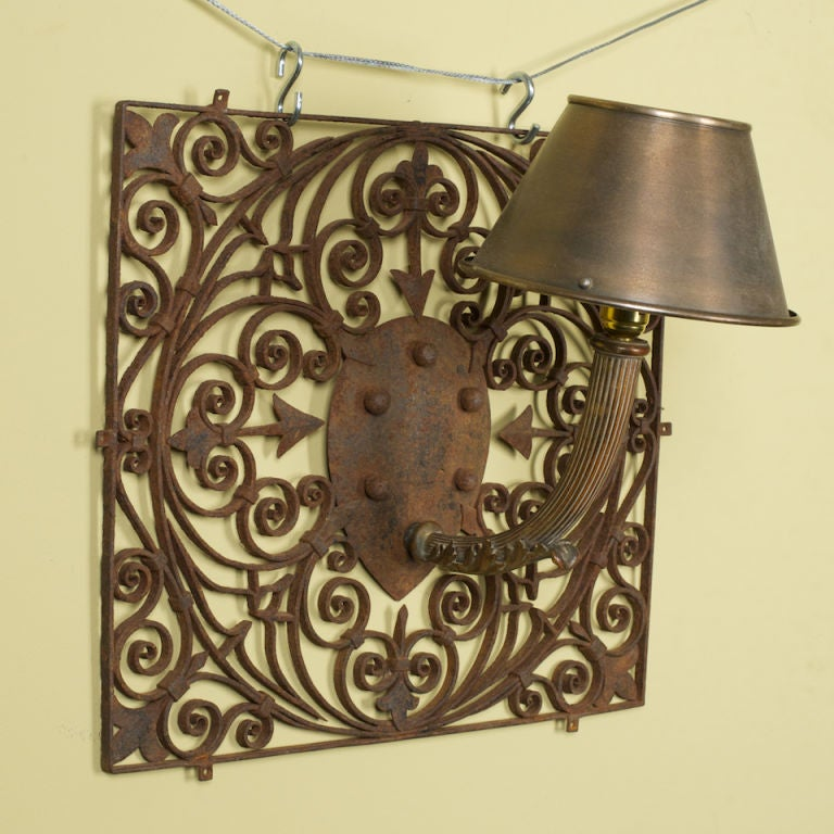 French Iron Wall Sconces : Pair of Large French Hand-Forged Iron Wall Sconces at 1stdibs