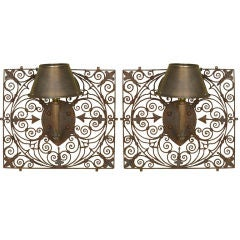 Pair of Large French Hand-Forged Iron Wall Sconces