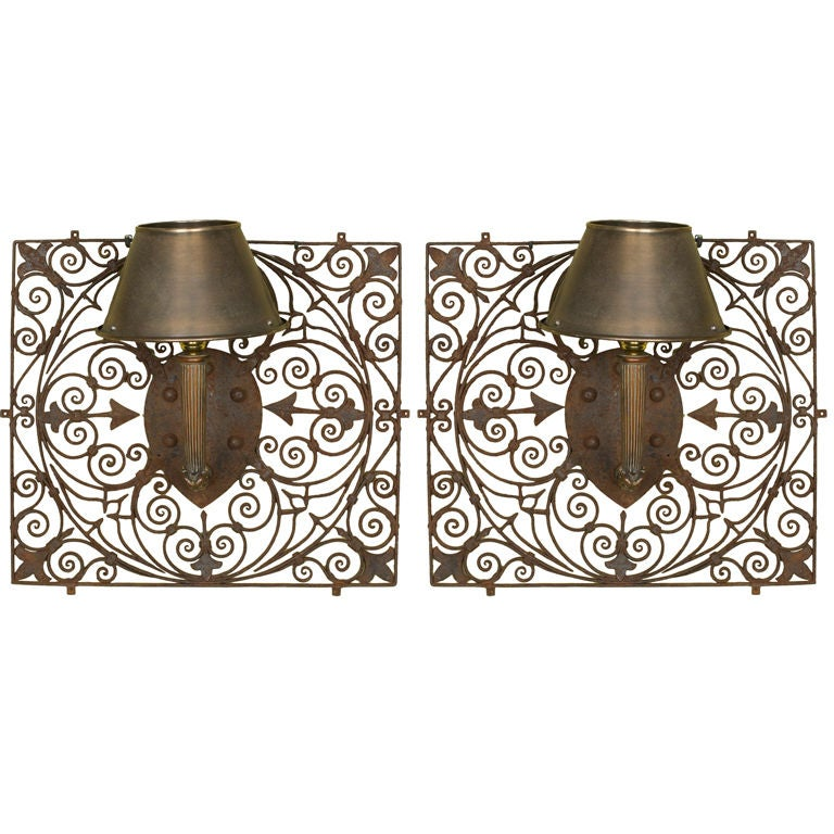 Pair of Large French Hand-Forged Iron Wall Sconces at 1stdibs