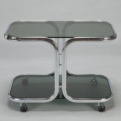 Mid Century Chrome and Black Glass Trolley