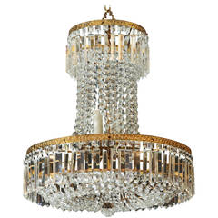 Late 19th Century Tall All Crystal Swedish Chandelier