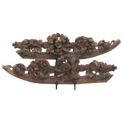 Pair French Highly Carved Dark Wood Pediments