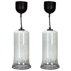 Pair Mid Century Murano Pendant Lights with Black Rims