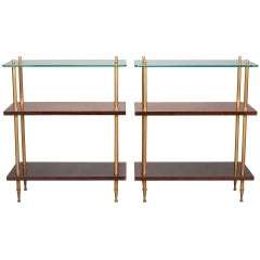 Pair Mid Century Wood and Glass Three Tier Side Tables