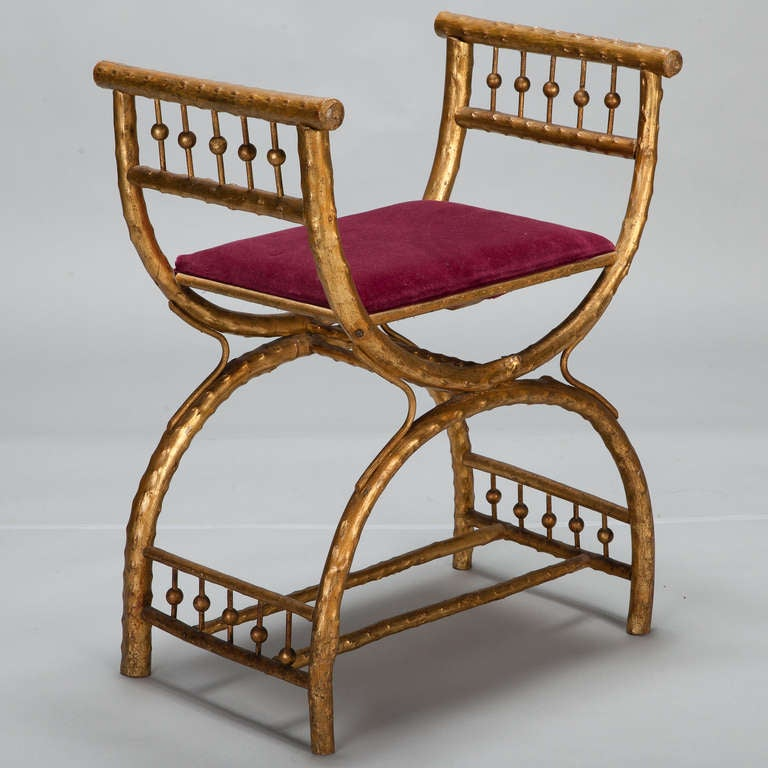 Gilt Wood Egyptian Style Stool With Velvet Seat For Sale
