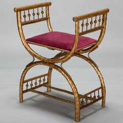 Gilt Wood Egyptian Style Stool with Velvet Seat