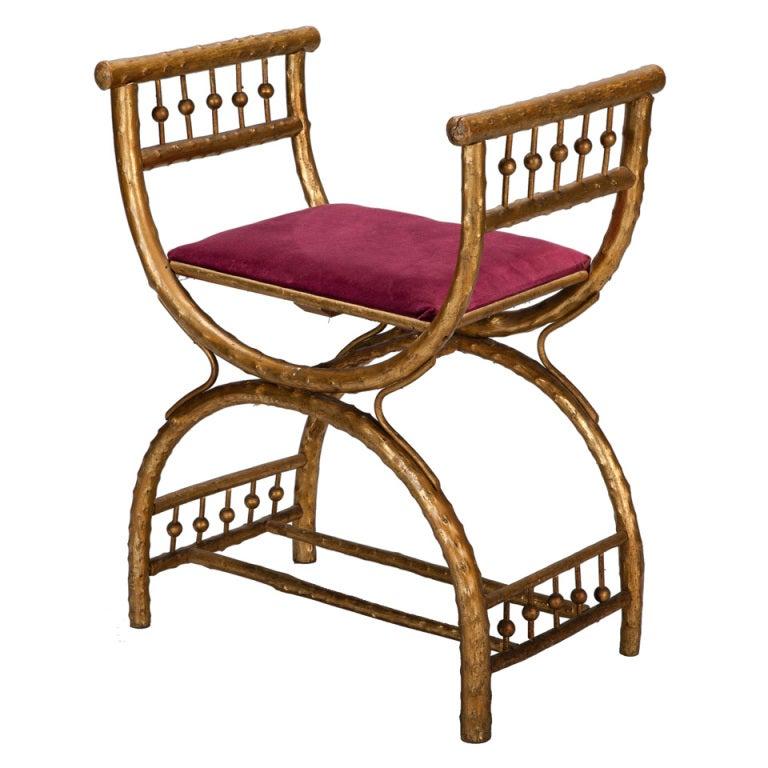 gilt wood egyptian style stool with velvet seat