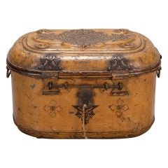 Large 19th Century Dress Box with Elaborate Brass Hardware