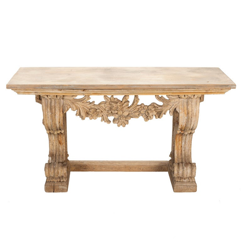 Small french carved wood bench