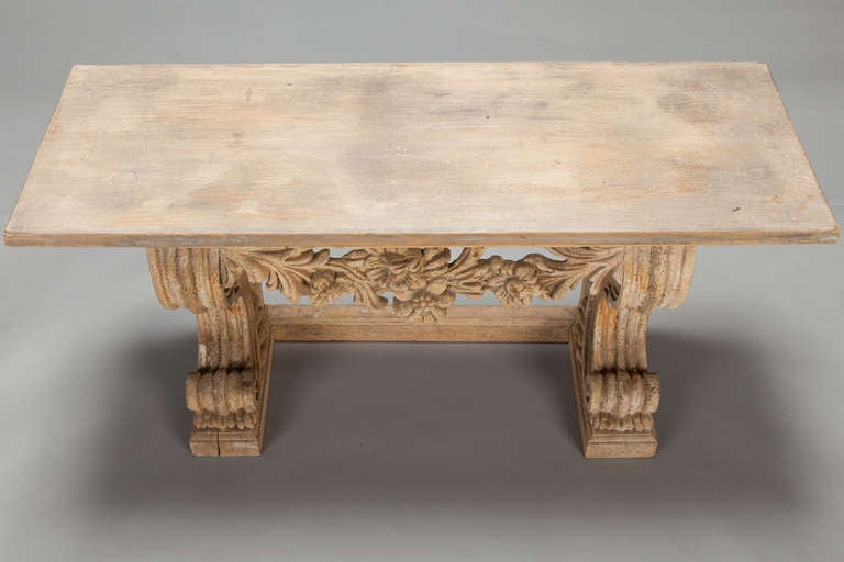 Small french carved wood bench at stdibs
