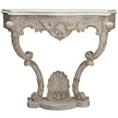 Louis XVI Style Carved and Painted Console with Shell Cartouche