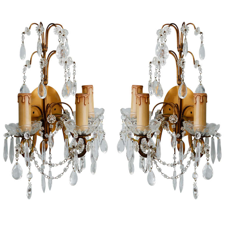 Pair of French Three-Arm Crystal and Brass Sconces