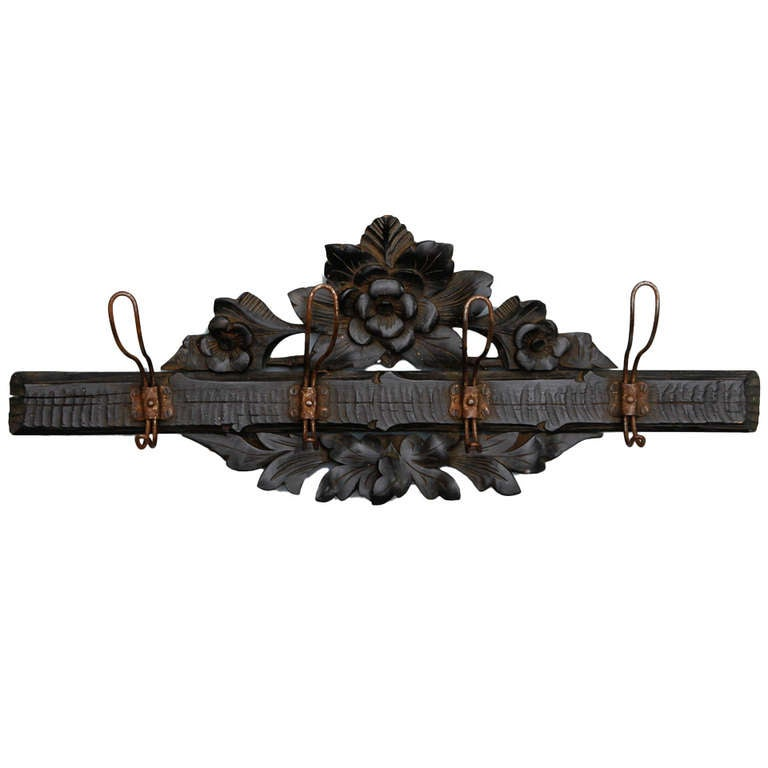 Black Forest Hand Carved Wall Mounted Coat Rack At 1stdibs