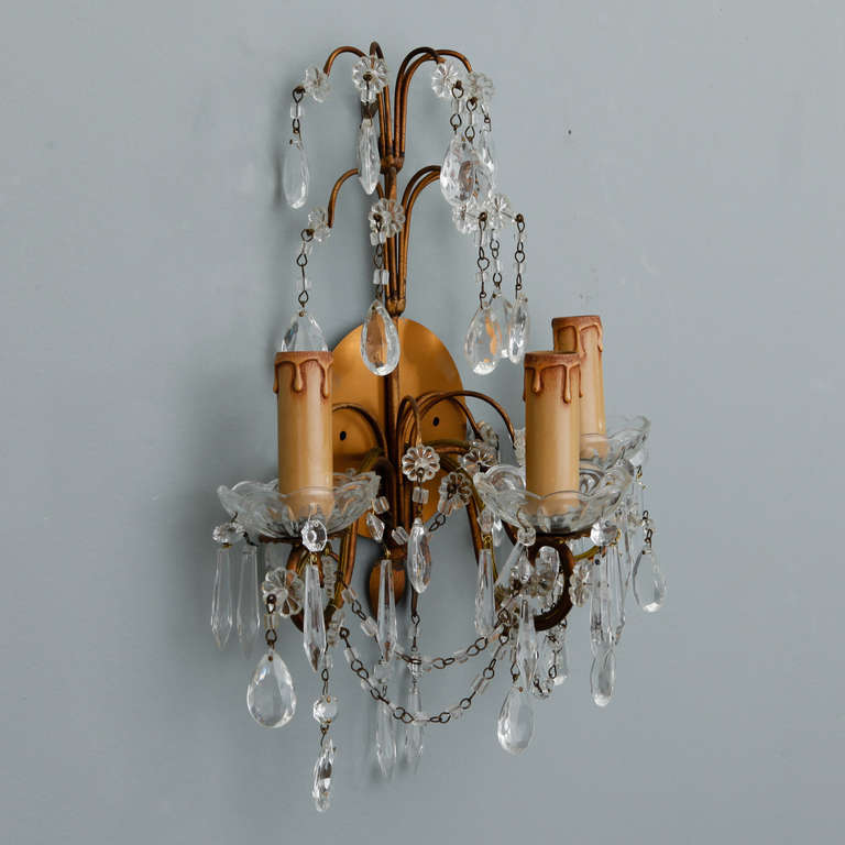 Pair of French Three-Arm Crystal and Brass Sconces at 1stdibs