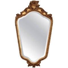 French Dark Gilt Mirror with Foliate Crown