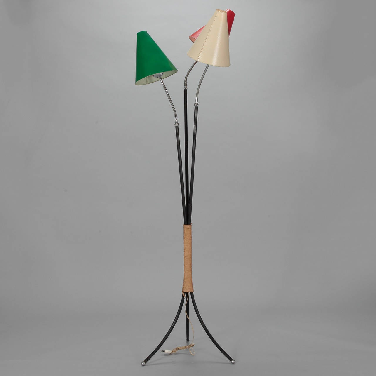 Original Lamps mid century scandinavian three-light floor lamp with original