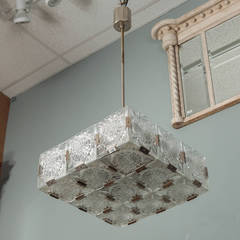 Mid Century Hanging Fixture With Etched Circular Glass Panels