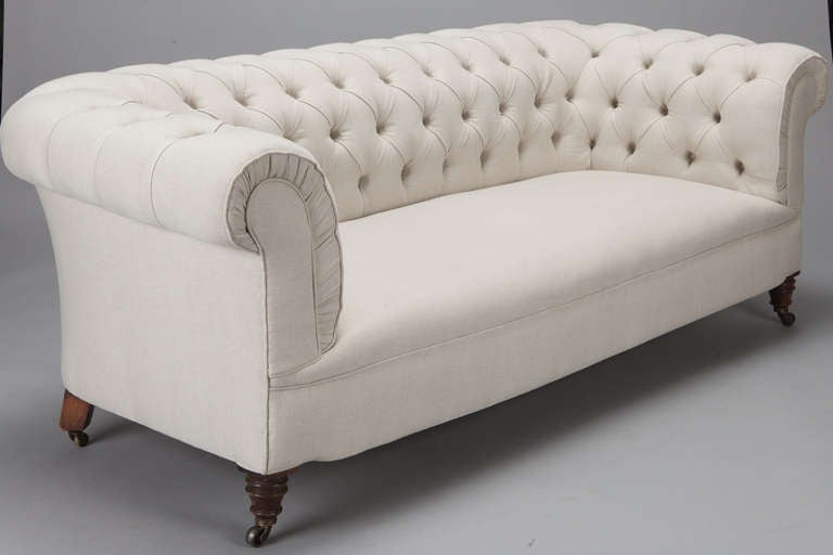 English Chesterfield Sofa Upholstered In Off White Belgian Linen 3
