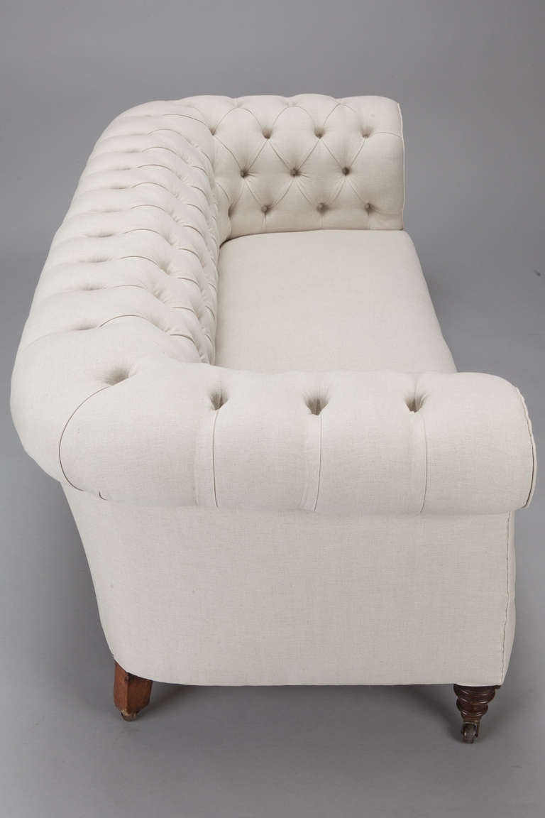English Chesterfield Sofa Upholstered in Off White Belgian Linen at 1stdibs