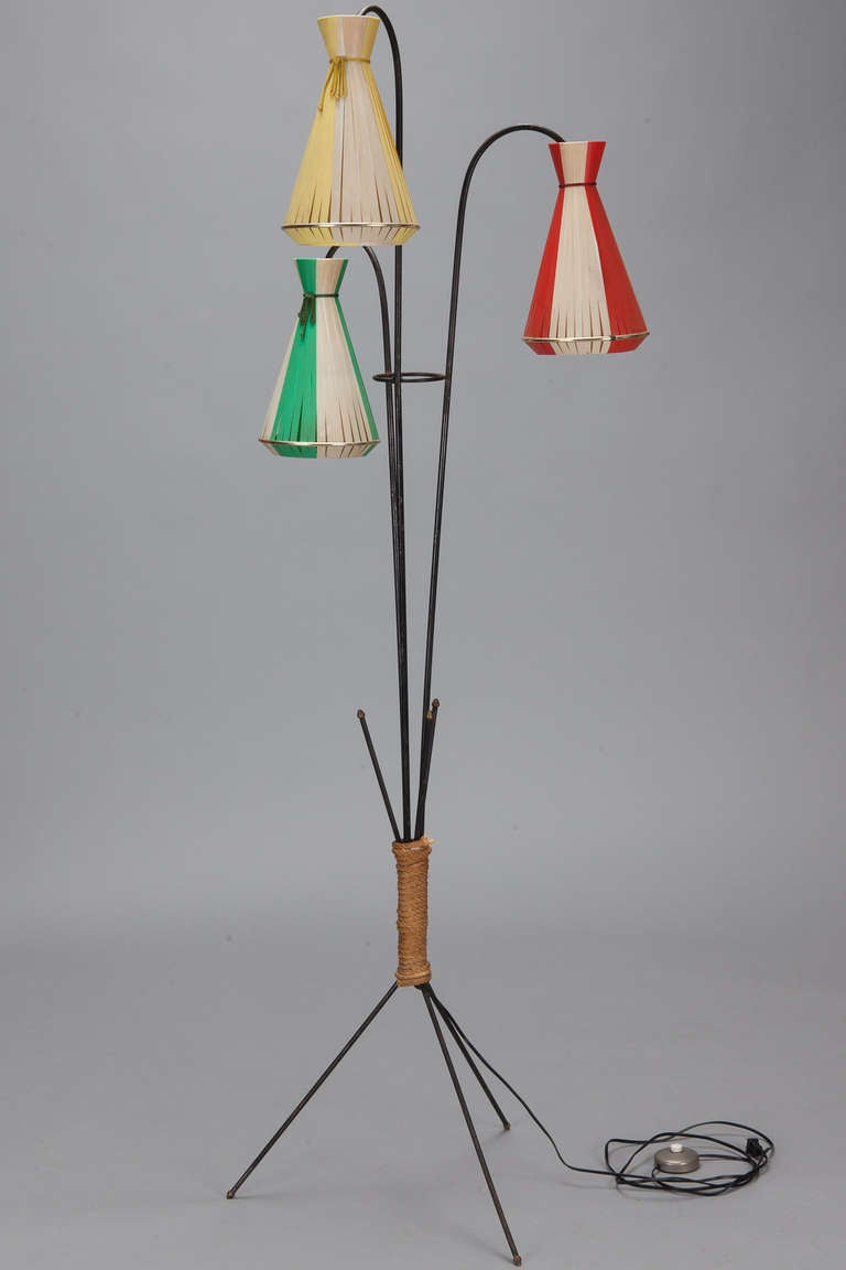 Mid Century Wrought Iron Three Cone Multicolor Floor Lamp 3