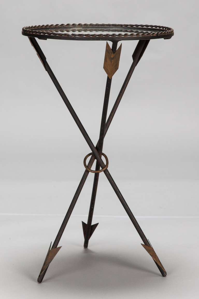 Mirror Top Side Table With Tripod Arrow Foot Base At 1stdibs