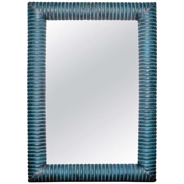 Italian Blue Painted Thick Ridged Wood Frame Mirror at 1stdibs