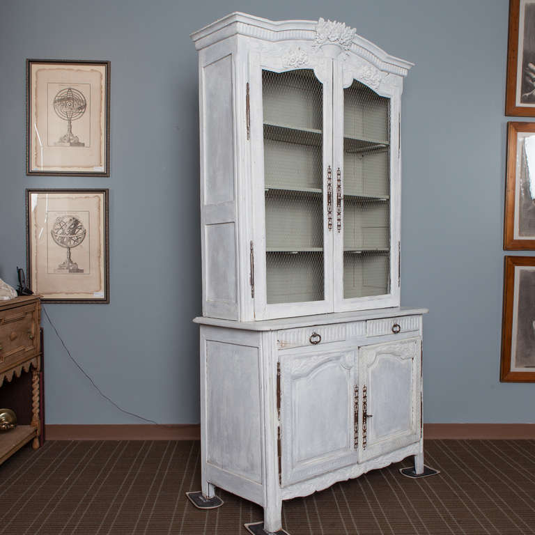Chicken Wire Kitchen Cabinet Doors: Painted Blue Gray French Pine Buffet Deux Corps With