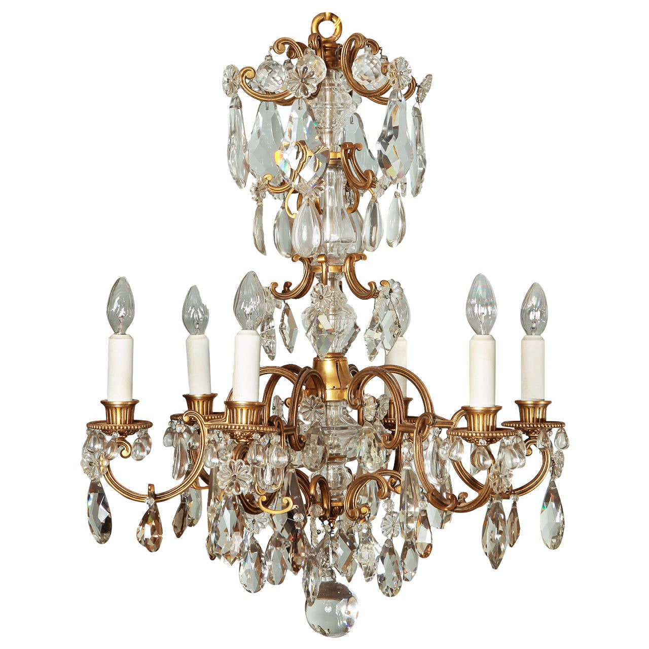 Bronze and Crystal Six Light Chandelier at 1stdibs