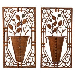 Pair French Iron Plaques with Flower Vases