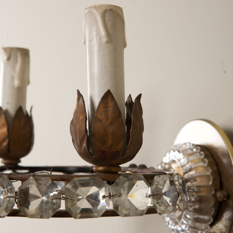 Pair Three Light Oval Crystal Beads Sconces at 1stdibs