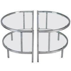 Pair Demi Lune Shape Chrome & Glass Side Tables