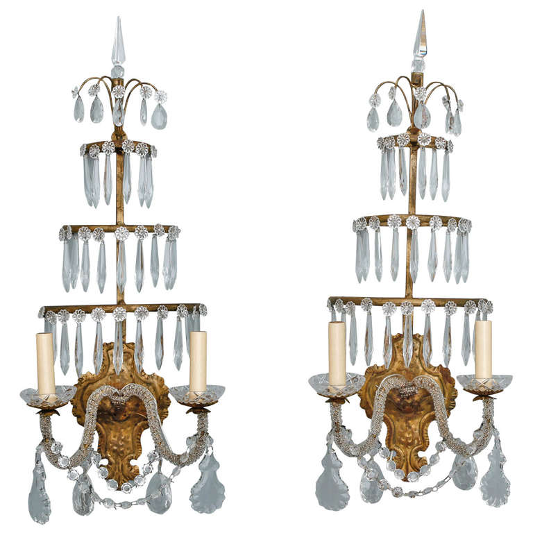 Wall Sconces With Hanging Crystals : Pair of Italian Two Light Sconces with Three Tiers of Hanging Spear Crystals at 1stdibs