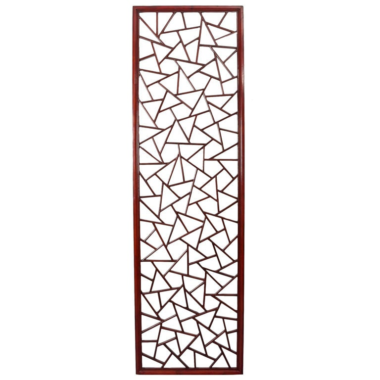 Chinese red wood screen panel at 1stdibs for Wooden garden screens design