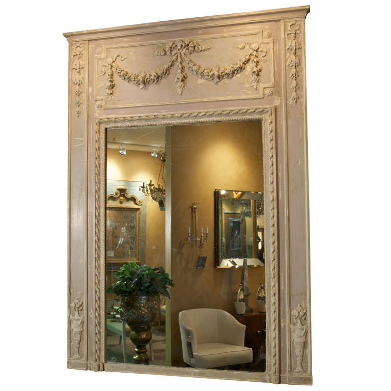 large off white trumeau mirror at 1stdibs. Black Bedroom Furniture Sets. Home Design Ideas