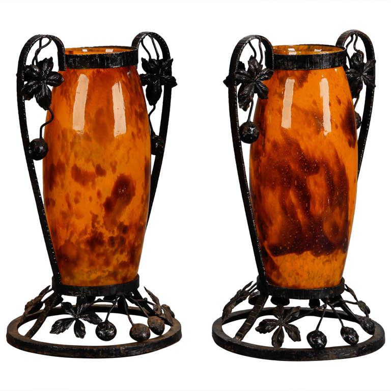 Pair of Tall Signed Delatte Nancy Art Glass and Iron Vases For Sale