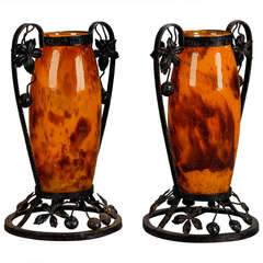 Pair of Tall Signed Delatte Nancy Art Glass and Iron Vases