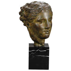 Sculpted Bust of Greek Goddess Mounted on Marble Base