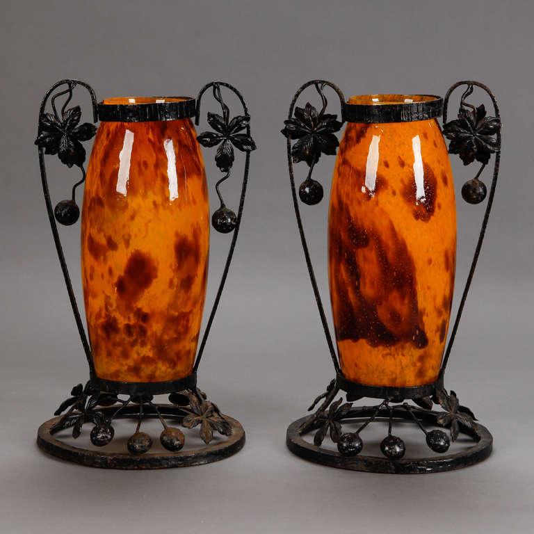 Art Deco Pair of Tall Signed Delatte Nancy Art Glass and Iron Vases For Sale