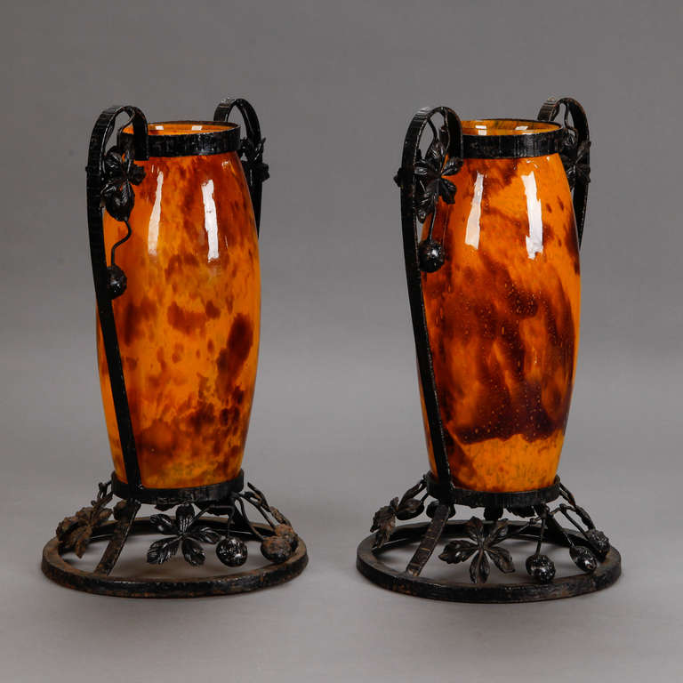 French Pair of Tall Signed Delatte Nancy Art Glass and Iron Vases For Sale