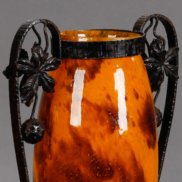 Mid-20th Century Pair of Tall Signed Delatte Nancy Art Glass and Iron Vases For Sale