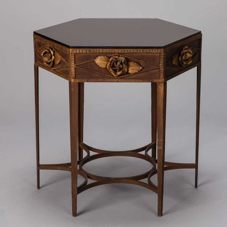 French art deco gilded iron side table with roses at 1stdibs - Deco table rose ...