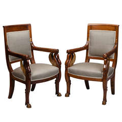 Pair of French Newly Upholstered Mahogany and Parcel-Gilt Chairs