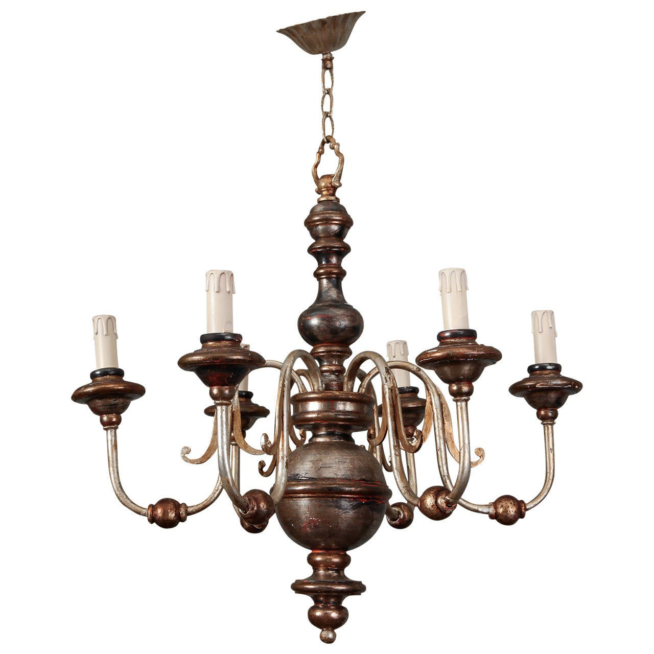 Silver Leaf Wood and Iron Six-Arm Italian Chandelier 1