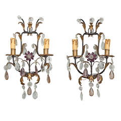 Pair of Italian Two-Light Tole and Crystal Sconces