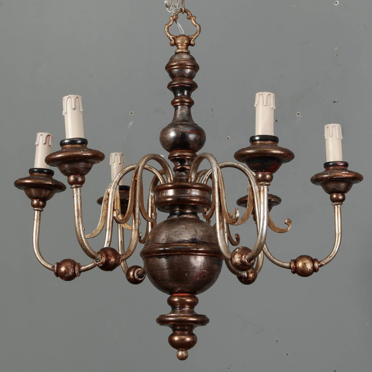 Silver Leaf Wood and Iron Six-Arm Italian Chandelier 2