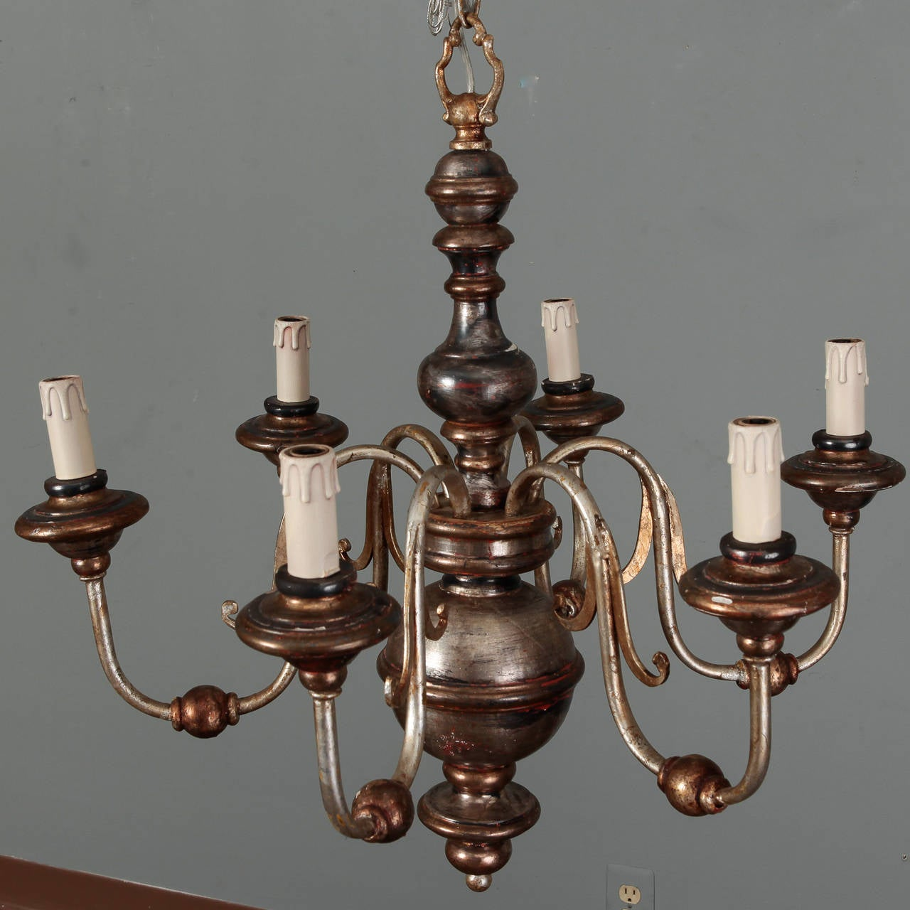 Silver Leaf Wood and Iron Six-Arm Italian Chandelier 3