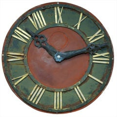 Red and Green Metal Antique Clock Face