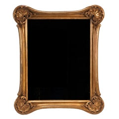 Rectangular Gilt Wood Mirror with Shell Form Corners