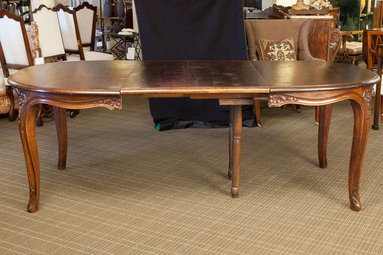 French Dark Fruitwood Table With Leaf For Sale At 1stdibs